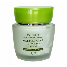 3W CLINIC АЛОЭ/Крем для лица Aloe Full Water Activating, 50 гр КОРЕЯ (увлажняет, восстанавливает)